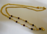 Slim Link design Goldplated white&red Crystal Chain Necklace