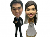 Personalized Wedding Cake Topper of a Golden Couple