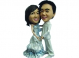Personalized Wedding Cake Topper of a Pearly Wedding Couple