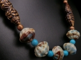 Porcelain and turquoise bead necklace