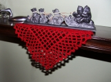 Square-shaped Crochet Red Table/Furniture Decor