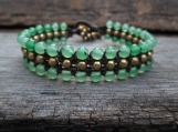 Triple Green Jade Brass Row Bracelet