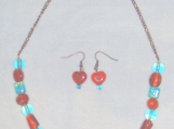 """Glass Bead and Copper chain 22"""" necklace and matching earrings"""