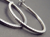 Hammered Sterling Hoop Earrings - Medium