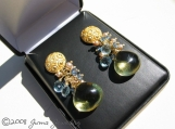 JUMA Jewelry - Fleur Earrings feat. Super Smooth Lemon Topaz Briolettes with clusters of London Blue Topaz, Swiss Blue Topaz, and Tiny Champagne FW Pearls on 24KT gold Vermeil Earrings Post