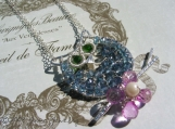 JUMA Jewelry - Nocturnal Theme- Hootie In Hawaii Necklace London Blue Topaz, Pink Topaz, Chrome Green Diopside