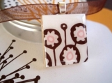 Modern Brown and Pink Flower - Scrabble Tile Necklace in a tiny tin