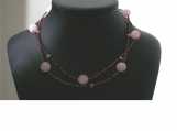 Rose Quartz and Copper Beaded Choker Necklace