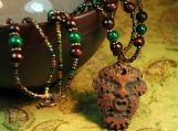 The Green Man - Malachite Copper Wood Pagan Necklace - Witchery