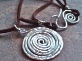Silver spiral hammered Necklace Aluminum