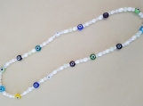 Unique Multi-Colored Evil Eye with Fresh Water Pearl Necklace