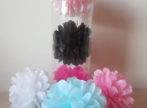 "15 Mini Tissue Paper Pom Poms, 4-5"" in diameter, you pick colors"