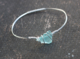 Blue Beach Glass & Silver Bangle