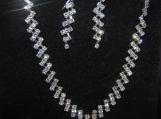 Wedding Bridal Bridesmaid Pageant crystal necklace earring set
