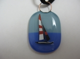 Enamel sailboat pendant