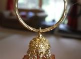 Jaipur jhumkas - Gold Vermeil Hoop Jhumkas with Apricot color Sw