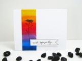 Sympathy Card - Bold Rainbow Flower Silhouette
