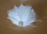 Bridal Feather Fascinator, Wedding Hair Accessory, Bridal Clip