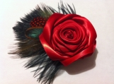 Red Rose Fascinator, Red Hair Clip, Red Hair Accessory