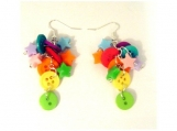 Chunky Rainbow Cluster Button and Star Earrings