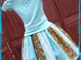 Girls Boutique Brown & Aqua Tshirt & Skirt Set Sz 4/5