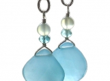 HEAVENLY Caribbean sky blue sparkling Chalcedony, Apatite and light green New Jade dangle Silver earrings