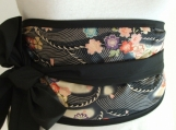 Looby Lou Obi belt - Japanese blossom on waves