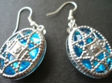 Pacific Blue jewelled Mirror two way filigree earrings