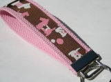 Pink and Brown Scottie Dog Key Fob