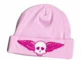 Pink Skull with Wings Baby Skull Cap