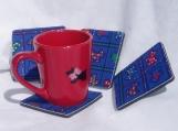 set of four scottie fabric foam backed coasters