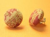 Vintage Floral Fabric Button Earrings