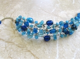 Plus Size Crocheted Cobalt Blue Wide Statement Bracelet