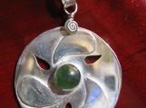 Jade Flower Silver Choker