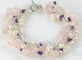 Romance - Rose Quartz, Amethyst, and Freshwater Pearl Bracelet