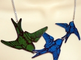 Swallows in blue & green