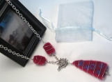 WIRE WRAPPED NEEDLE FELT NECKLACE