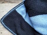 Black blue striped modern cotton handmade blanket child teen
