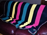 Colorful cotton blanket, large knitted throw, adult couch throw