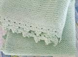 Handmade baby natural blanket, knit baby wool blanket