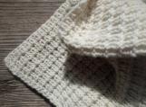 Merino cashmere newborn white blanket, knitted wool baby blanket