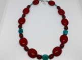 Chunky Red And Turquoise Beaded Choker Style Necklace