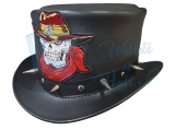 Cowboy Skull Leather Top Hat