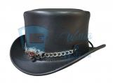 El Dorado Red Eye Skull Band Leather Top Hat