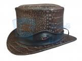 Crocodile Eye Band Leather Top Hat