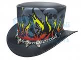 Burnin Hell Skull Leather Top Hat