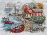 Handmade cross stitch finished product - seaside c