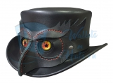 Owl Head Leather Top Hat