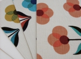Fabric Postcards - Set of 3 - Retro 3 petal flowers in 3 colors