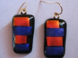 Red and Blue Dichroic Earrings